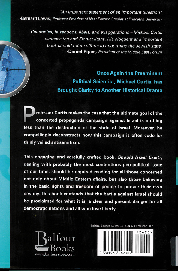 Picture of the back cover of the book entitled Should Israel Exist?.