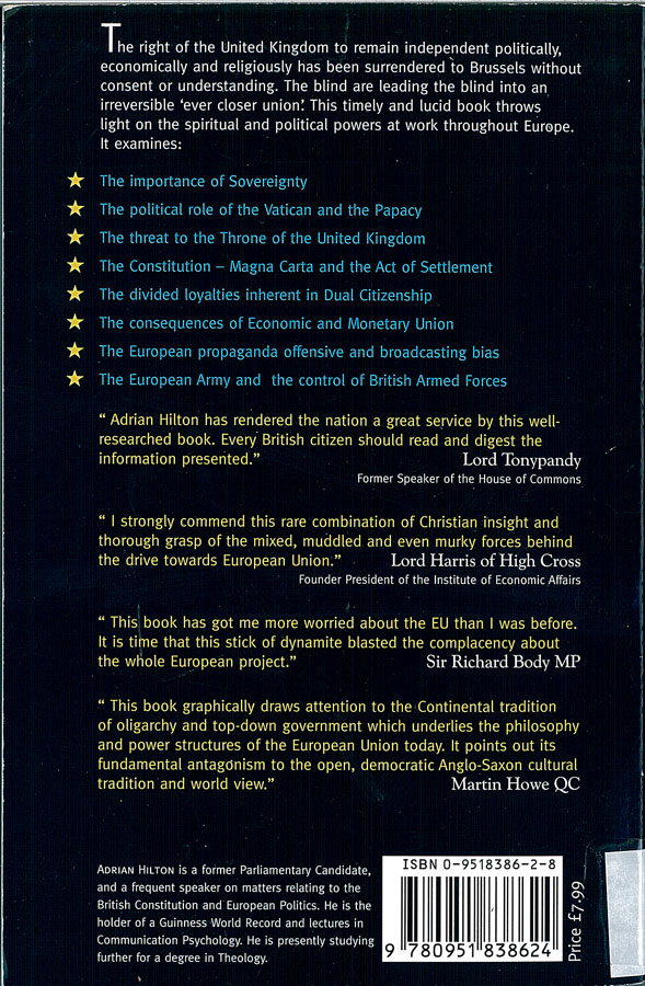 Picture of the back cover of the book entitled The Principality and Power of Europe.