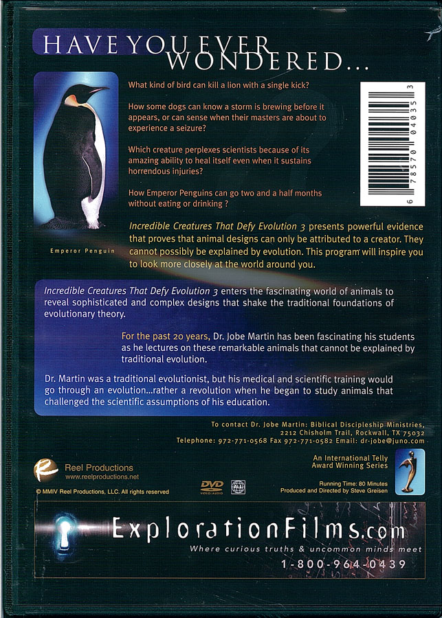 Picture of the back cover of the DVD entitled Incredible Creatures That Defy Evolution III.