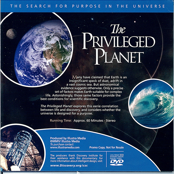Picture of the back cover of the DVD entitled The Privileged Planet.