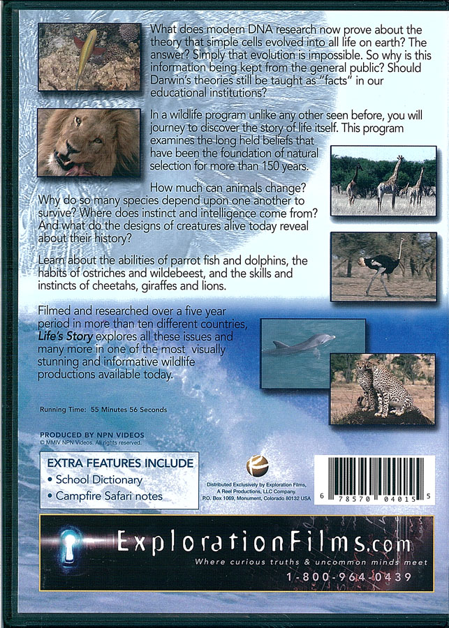 Picture of the back cover of the DVD entitled Life's Story: The One that Hasn't Been Told.